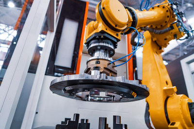 Robotic Arm production lines modern industrial technology. Automated production cell.